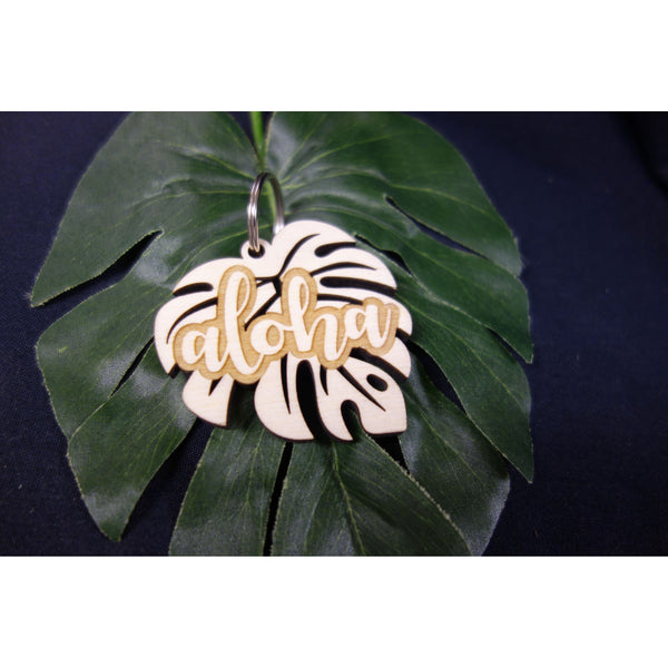 Monstera with Aloha Wood Keychain