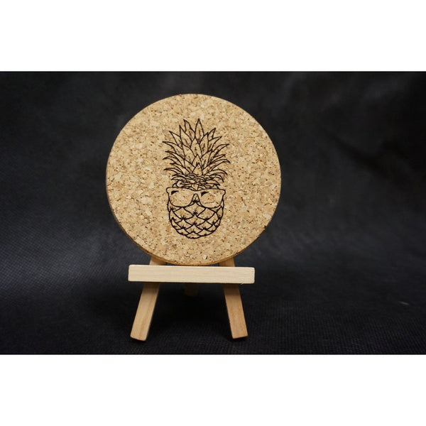 Pineapple with Sunglasses Cork Coaster