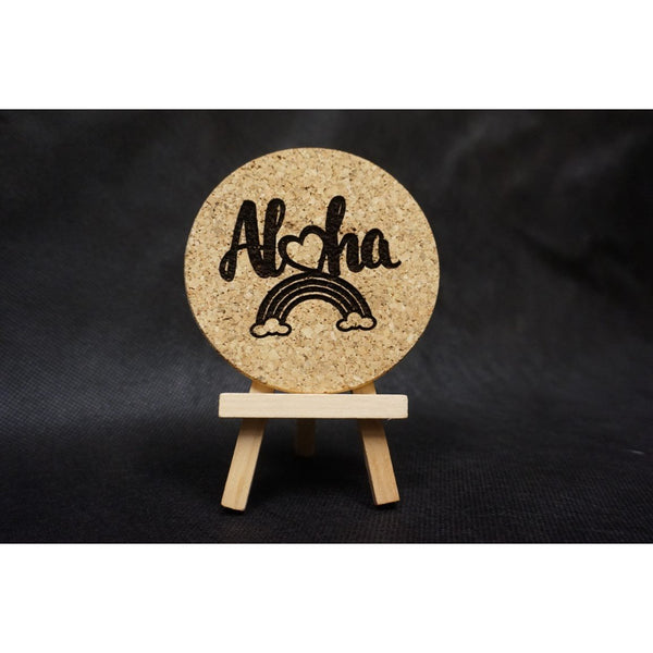 Aloha Heart Rainbow Cork Coaster