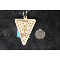 Aloha `Aina Triangular Shaped Wood Keychain