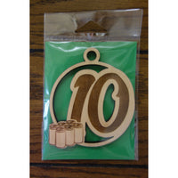 12 Days of Christmas Day 10 Wood Ornament