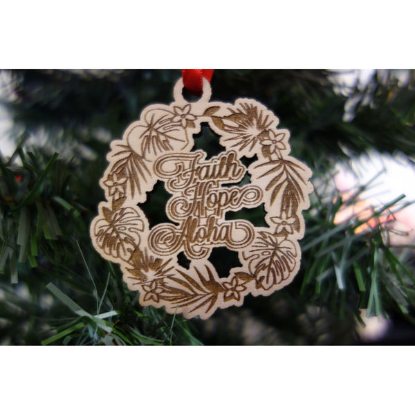 Faith Hope Aloha Tropical Wreath Ornament