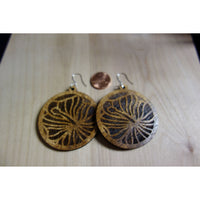 Solid Koa Wood Hibiscus Circle Earrings
