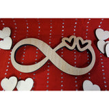 NEW: Personalized Wood Infinity Sign with Couples Names and Double Hearts