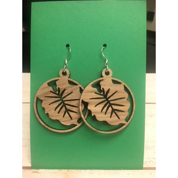 Kalo Leaf Circle Earrings
