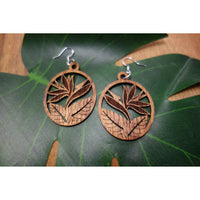 Koa Wood Bird of Paradise Earrings