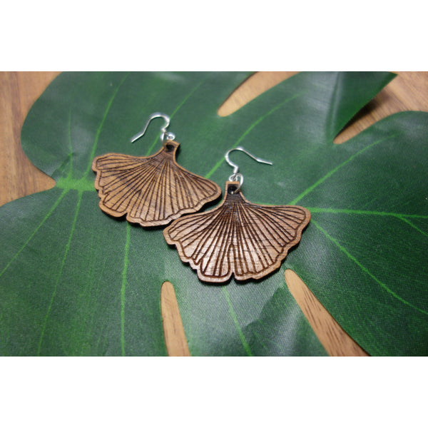Koa Wood Gingko Leaf Earrings