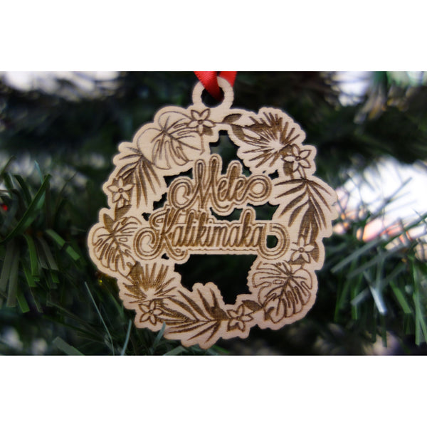 Mele Kalikimaka Tropical Wreath Ornament