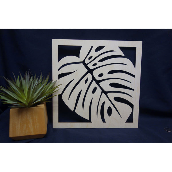 Tropical Monstera Leaf Square Plaque