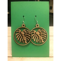 Monstera Leaf Circle Earrings