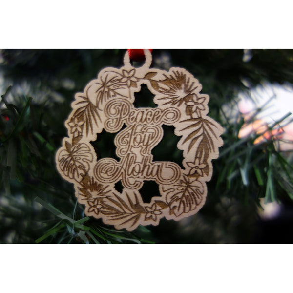 Peace Joy Aloha Tropical Wreath Ornament