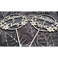 CUSTOM Plumeria Circle Names Wood Cake Topper