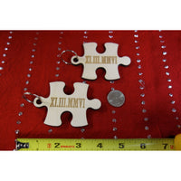 NEW: Personalized Wood Puzzle Piece Matching Key Chain Roman Numeral Date