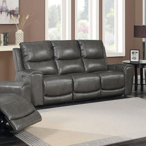 Stoneleigh Leather Power Reclining Sofa With Power Headrests