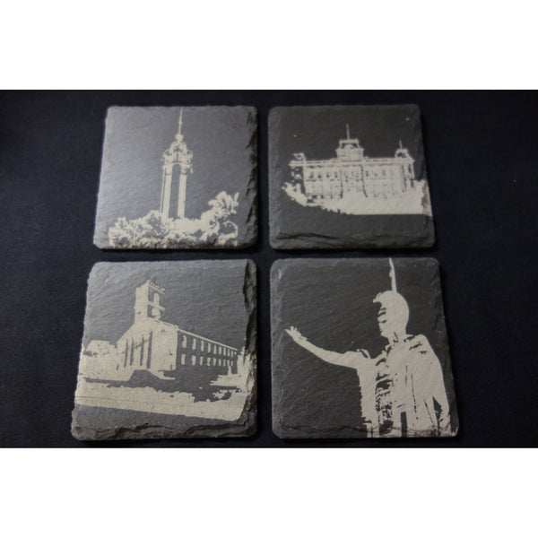 Set of 4 Slate Coasters - Iconic Hawaiian Landmarks