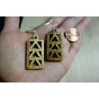 Solid Koa Wood Triple Mauna Triangle Earrings