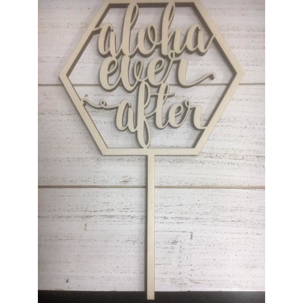 Aloha Ever After Wood Cake Topper
