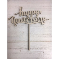 Happy Anniversary Wood Cake Topper