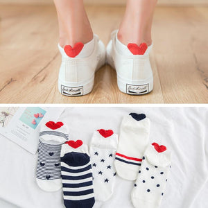 5 Pairs Cute Colorful And Fun Ankle Socks - 5 Pairs Cute Colorful Red Heart Ankle Socks
