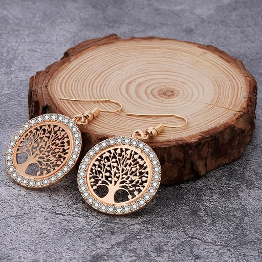Accessories Hollow Out Tree Of Life Drop Earrings - Hollow Out Tree Of Life Drop Earrings