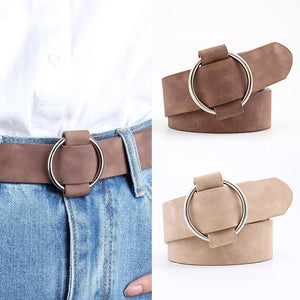 Accessory Belt Casual Faux Leather Round Buckle Belt - Casual Faux Leather Round Buckle Belt