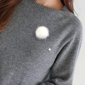 Accessory Brooch Sweet And Dainty Pearl And Pompom Brooch - Sweet And Dainty Pearl And Pompom Brooch