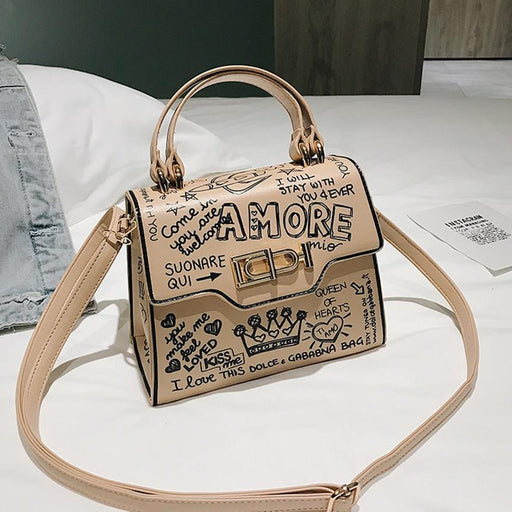 Amore Doodle Graffiti Statement Box Shoulder Bag - Amore Doodle Graffiti Statement Box Shoulder Bag