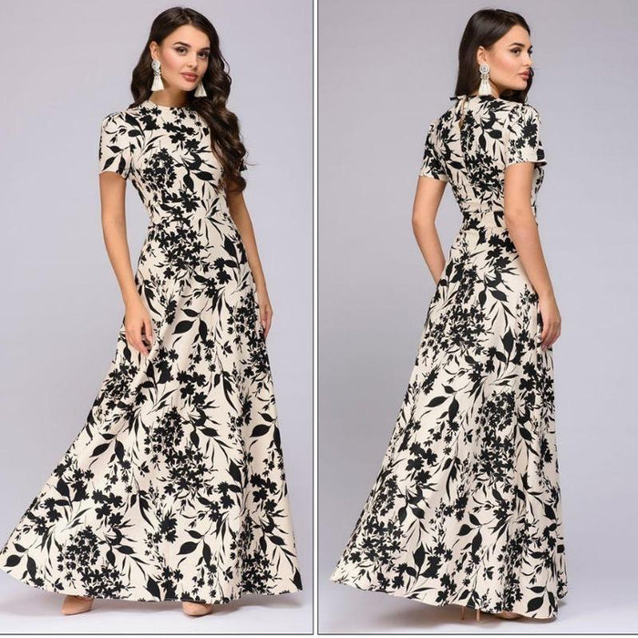 Angela - Floral Long Summer Dress-Boots N Bags Heaven