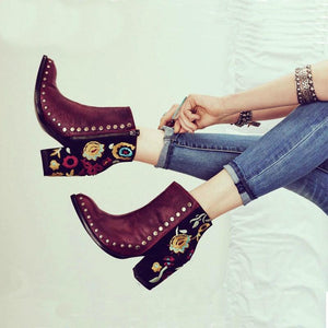 Ankle Boots Rocking Faux Leather Ankle Boots With Floral Embroidery - Rocking Ankle Boots With Floral Embroidery