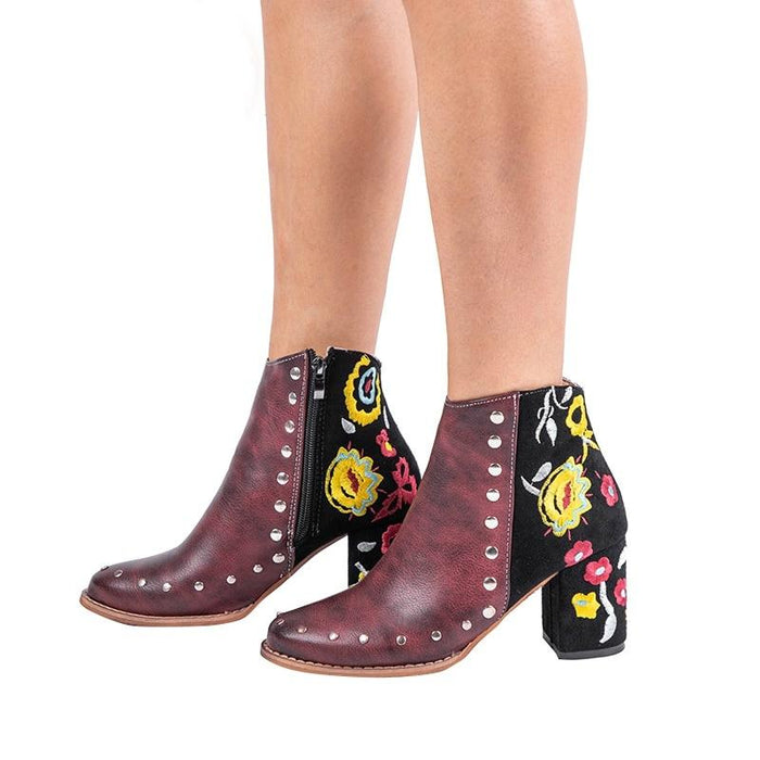 Rocking Ankle Boots With Floral Embroidery-Boots N Bags Heaven