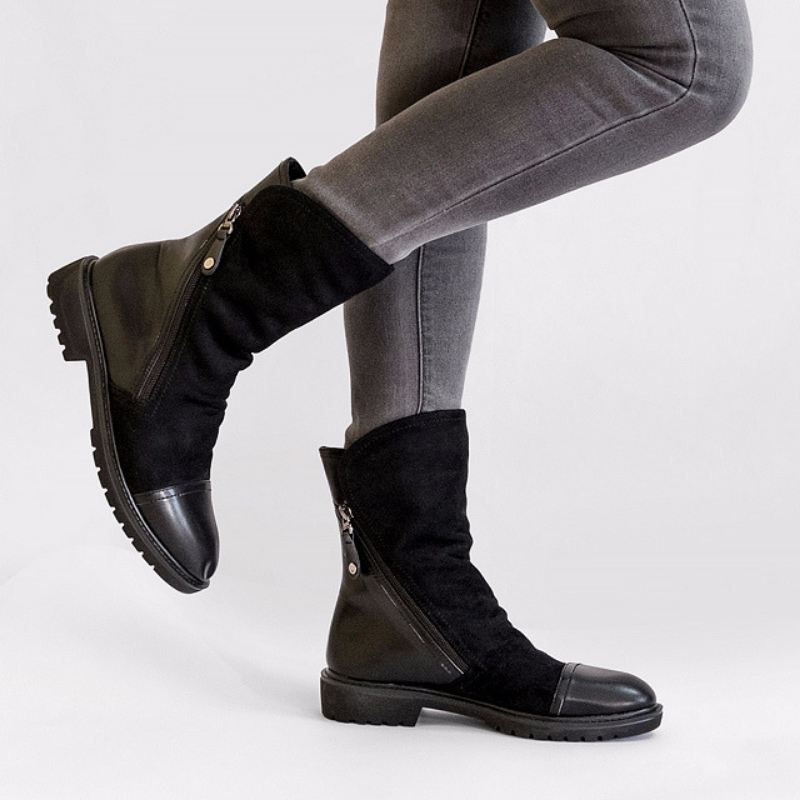 Women Faux Suede Leather Mid-Calf Boots-Boots N Bags Heaven