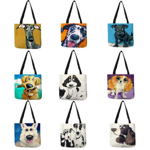Bags Adorable Cartoon Dog Reusable Tote Bags - Adorable Cartoon Dog Reusable Tote Bags
