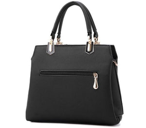 Bags - Black And White Striped Leather Handbag