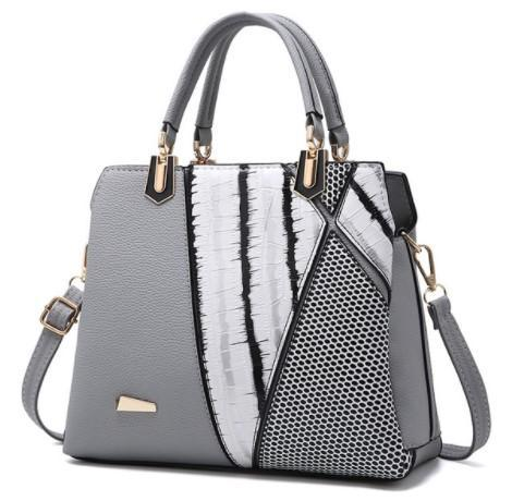 Black and White Striped Leather Handbag-Boots N Bags Heaven