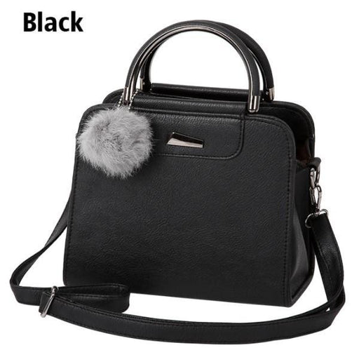 Casual Small Leather Handbag With Cute Pompom-Boots N Bags Heaven