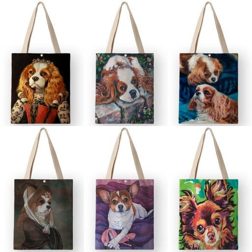 Bags Classical Painting Dog Print Tote Bags - Classical Painting Dog Print Tote Bags