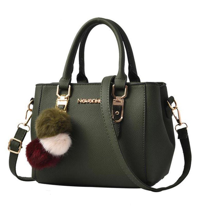 Elegant Leather Handbag With Pompoms-Boots N Bags Heaven