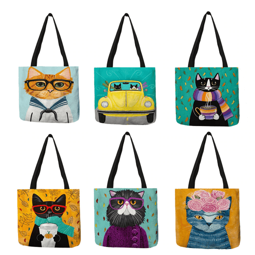 Bags Fun Kitty Cat Reusable Tote Bags - Fun Kitty Cat Reusable Tote Bags