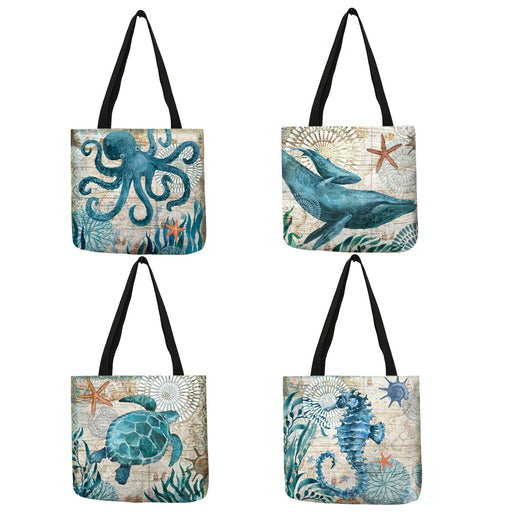 Bags Reusable Eco-Friendly Deep Sea Creatures Tote Bags - Reusable Eco-Friendly Deep Sea Creatures Tote Bags