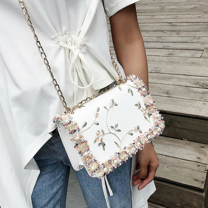 Sweet and Dainty Floral Lace Cross-body Messenger Bag-Boots N Bags Heaven