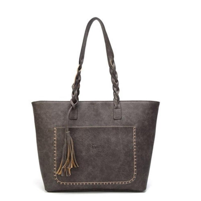 Vintage Casual Handbag with Braided Handles and Tassels-Boots N Bags Heaven