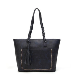 Bags Vintage Casual Handbag With Braided Handles And Tassels - Vintage Casual Handbag With Braided Handles And Tassels
