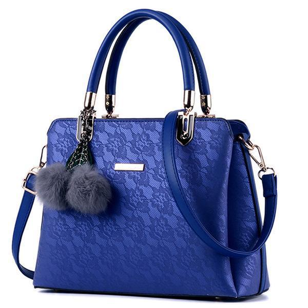 BNB Leather Handbag With Pompom Keychain-Boots N Bags Heaven