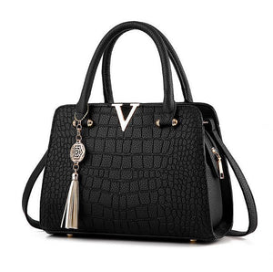 Bags With Pompoms/Keychains - Crocodile Style Leather Handbag With Tassel Chain