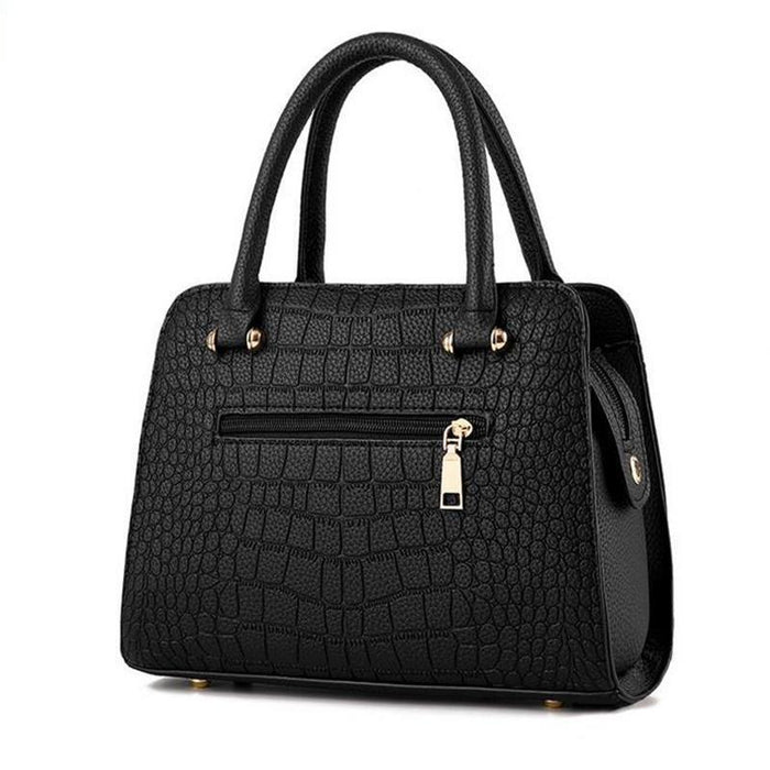 Crocodile Style Leather Handbag With Tassel Chain-Boots N Bags Heaven