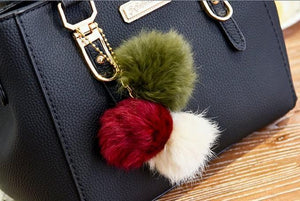 Bags With Pompoms/Keychains - Leather Purse With Pompoms Keychain