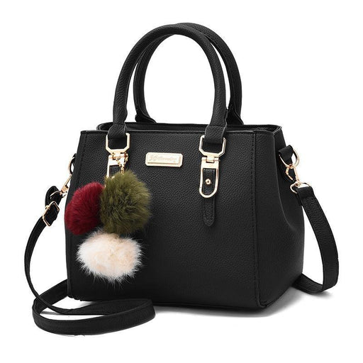 Leather Purse With Pompoms Keychain-Boots N Bags Heaven