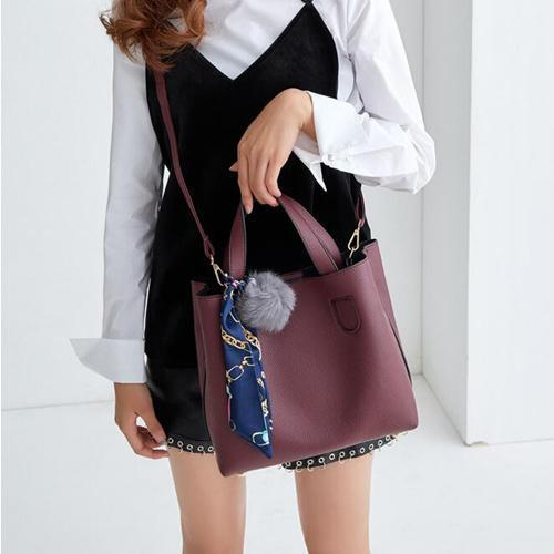 Soft Leather Handbag With Pompom Keychain-Boots N Bags Heaven