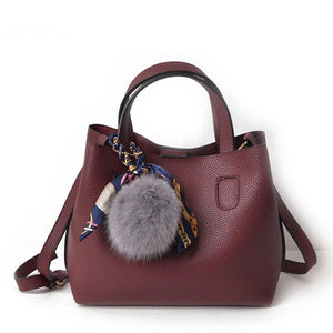 Bags With Pompoms/Keychains - Soft Leather Handbag With Pompom Keychain
