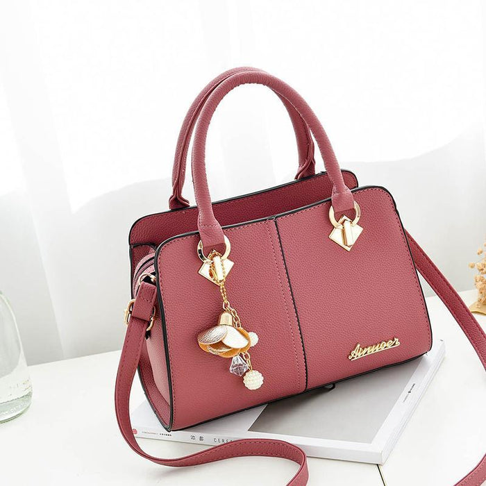 Solid Tote Handbag With Ornament Keychain-Boots N Bags Heaven